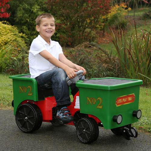 Ride on Kids Electric 12v Battery Powered Play Train Engine and Pedal Coal Truck - Green