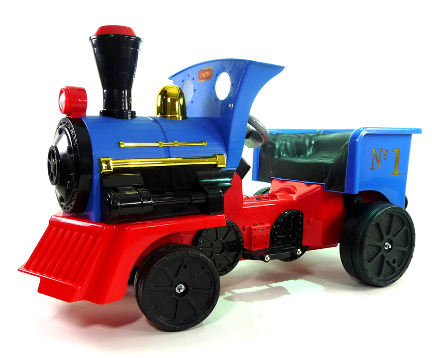 Ride on Kids Electric 12v Battery Powered Play Train Engine - Blue