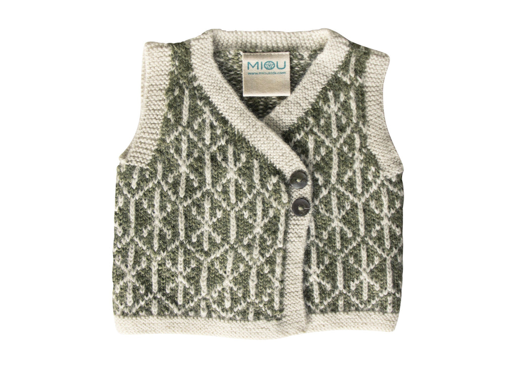 Jacquard Vest - Green/ Cream