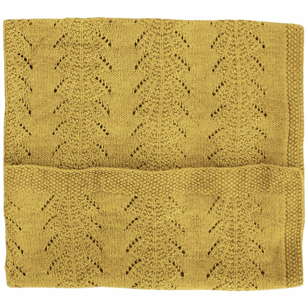 Alpaca Seashell Blanket - Mustard Yellow