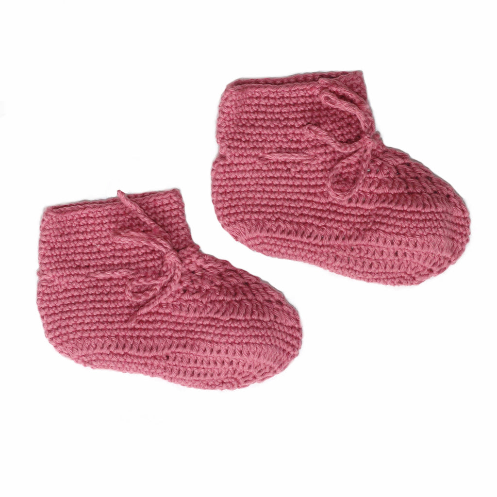 Crochet Booties Raspberry