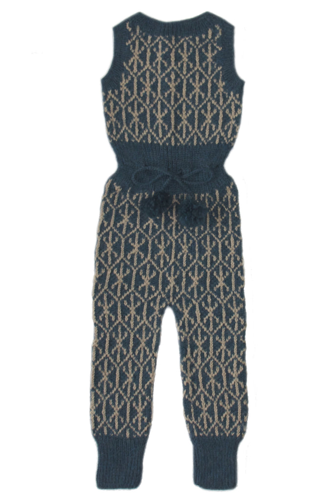 Jacquard Overall - Teal/ Beige
