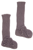 Long Cotton Booties Plum