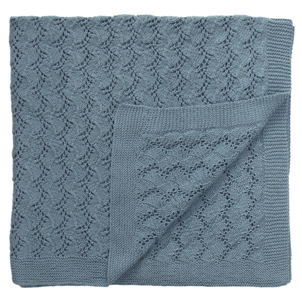 Cotton Lacy Blanket Blue
