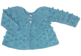 Bobble Knitted Girl Cardigan - Aqua