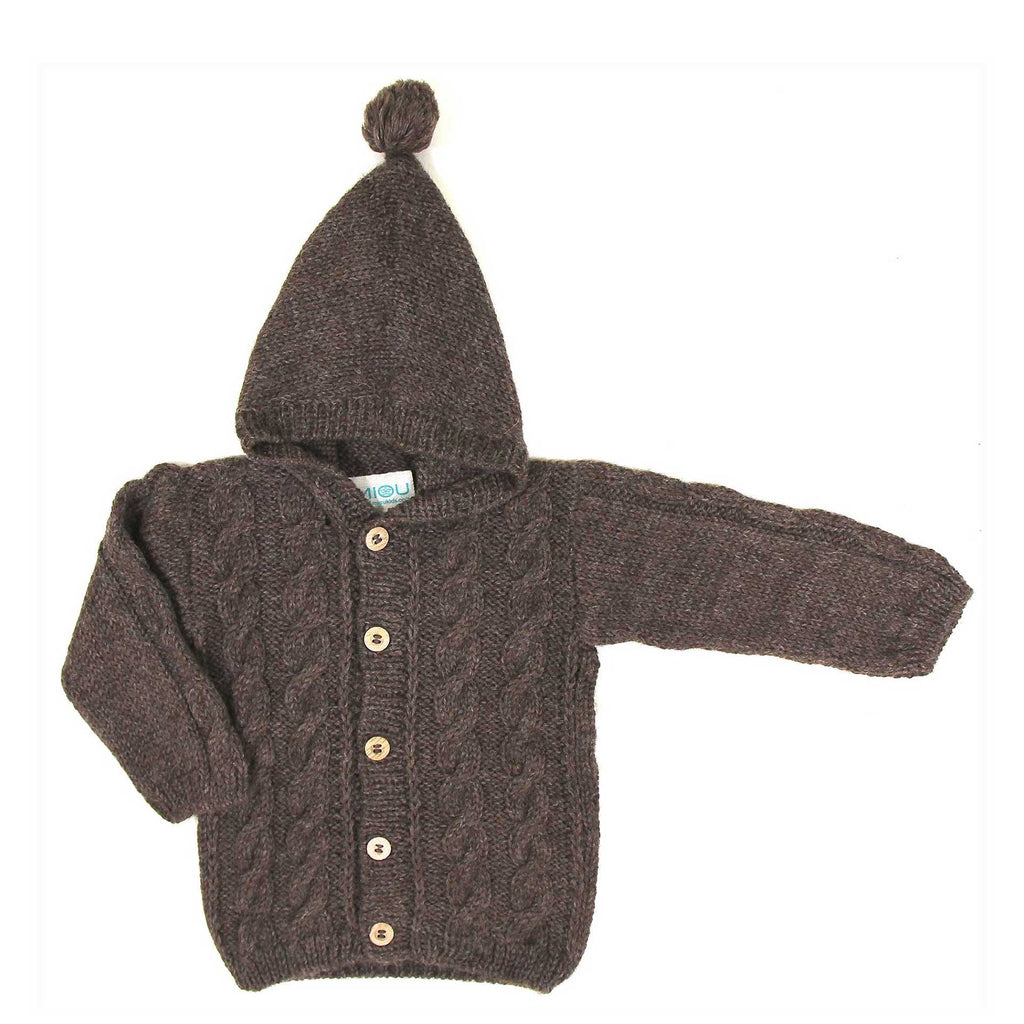 Cable Cardigan with Hood - Brown