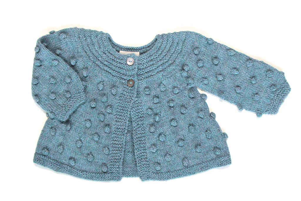 Bobble Knitted Girl Cardigan - Turquoise