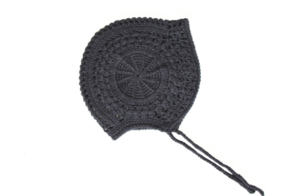Alpaca Lace Girl Bonnet - Charcoal