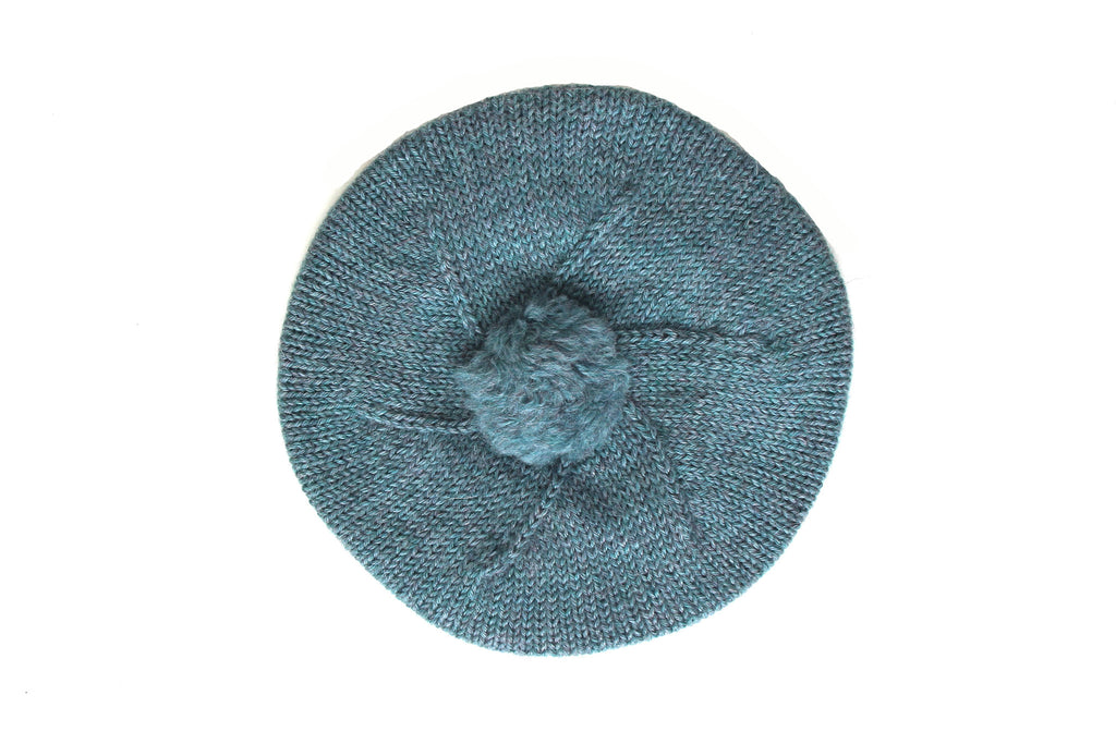 Girl Knitted Beret - Turquoise