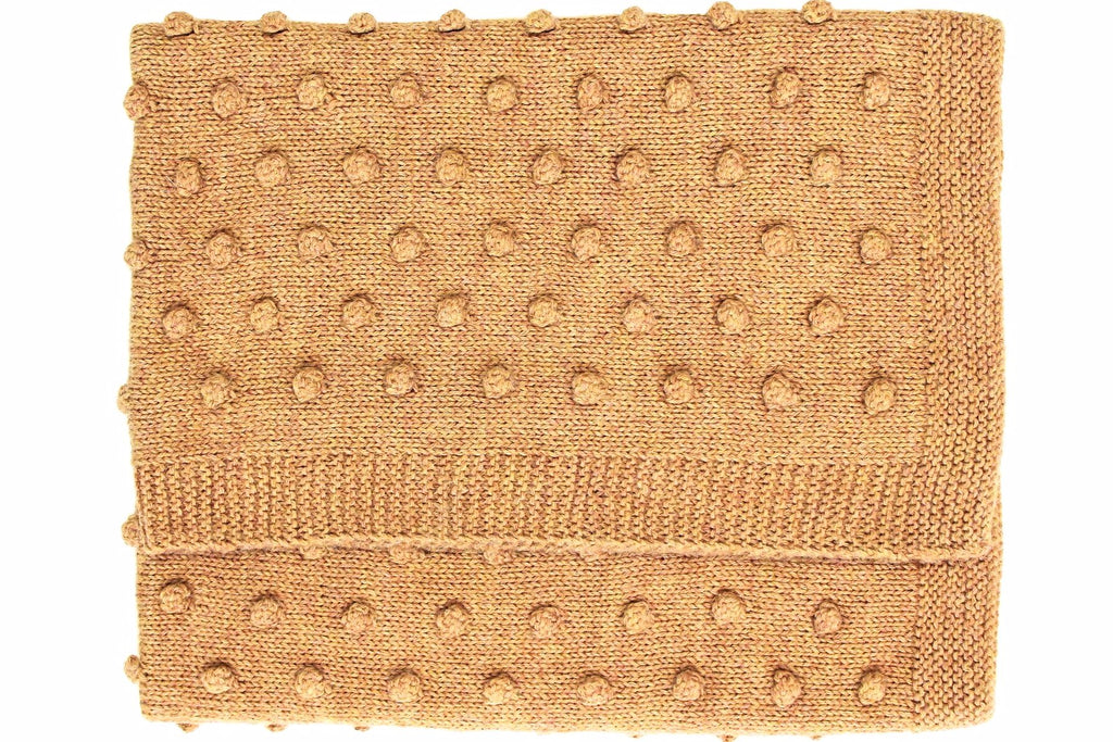 Bobble Knitted Baby Blanket - Amber Yellow