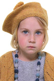 Girl Knitted Beret - Amber Yellow