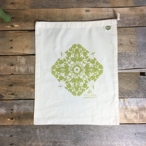 Large Organic Cotton Ditty Bag - Frog Medallion