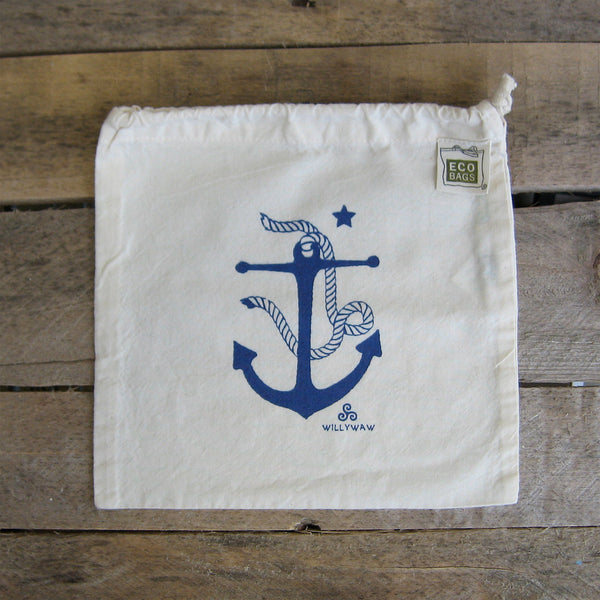 Small Organic Cotton Ditty Bag - Anchor