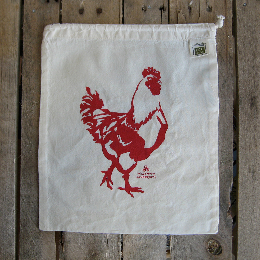 Medium Organic Cotton Ditty Bag - Chicken