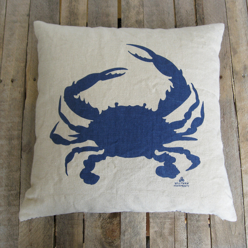 Crab Pillow - Navy Blue on Hemp