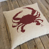 Crab Pillow - Deep Red on Hemp