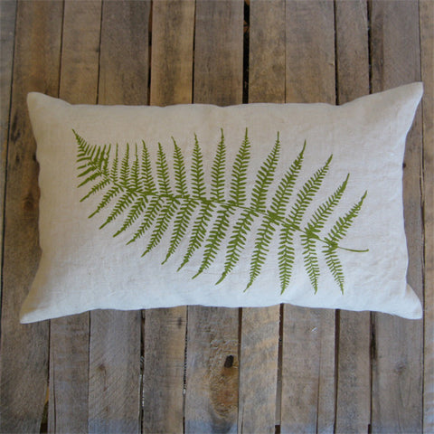 Fern Pillow on Hemp, 16 x 26
