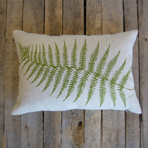 Fern Pillow on Hemp, 13 x 19
