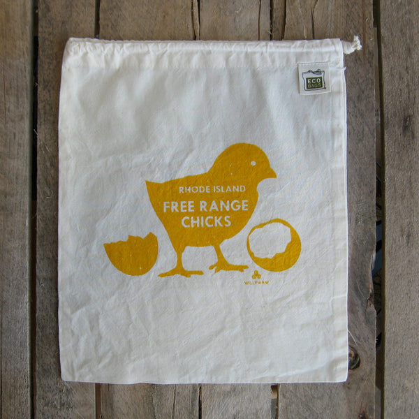 Medium Organic Cotton Ditty Bag - Free Range Chick