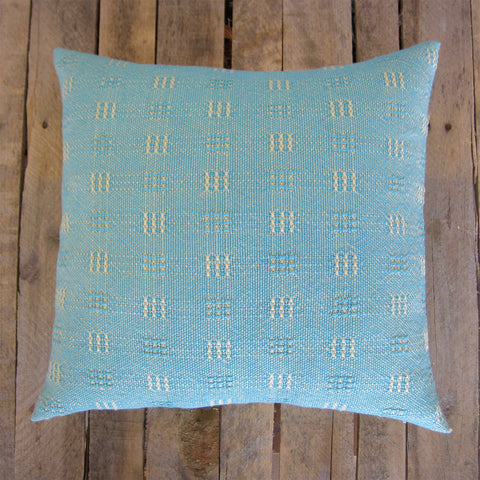 Handwoven Pillow - Porcelain Blue and Autumn Blonde