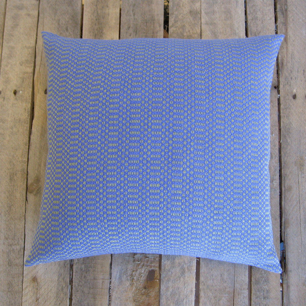 Handwoven Pillow - Blue Iris and Willow Green