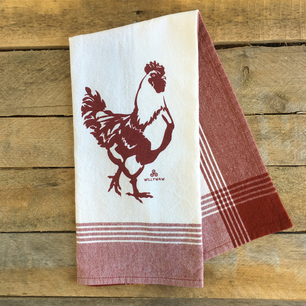 Rooster, Striped Tea Towel