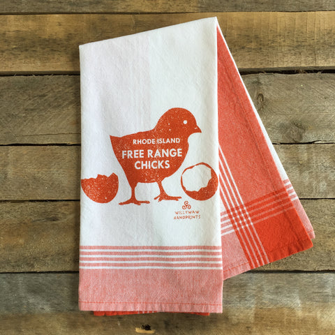 Free Range Chicks, Striped Tea Towel