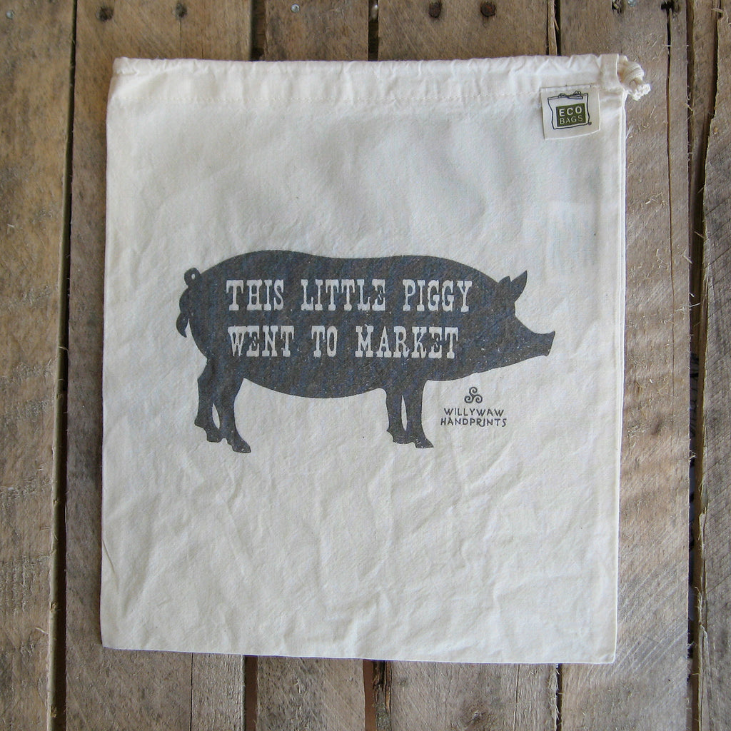 Medium Organic Cotton Ditty Bag - This Little Piggy