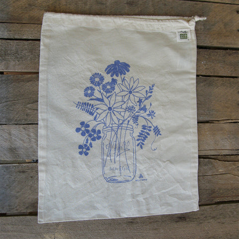 Large Organic Cotton Ditty Bag - Mason Jar
