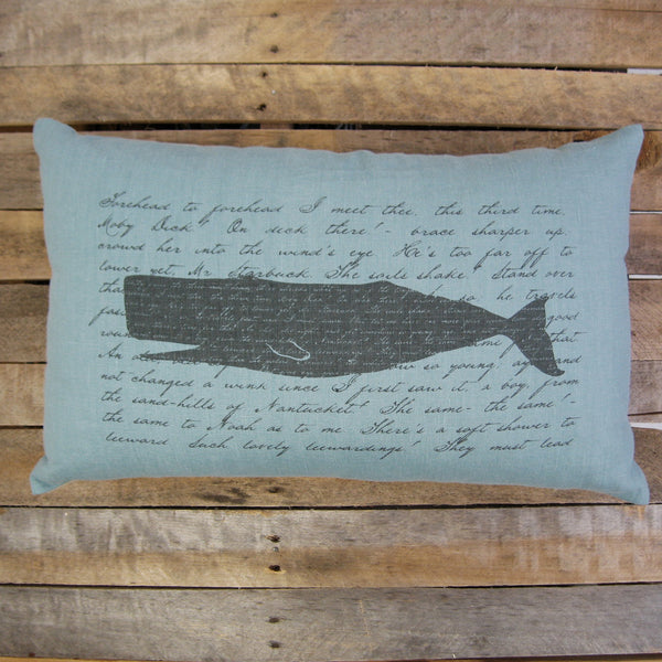 Moby Dick Pillow, Charcoal, 16x26