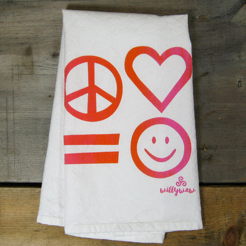 Groovy Peace, Love, Equality (Equals) Happiness Tea Towel