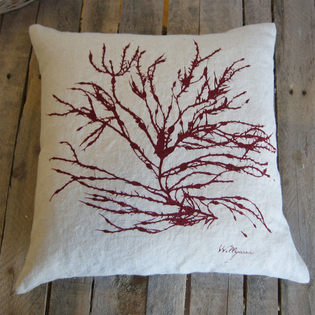 Seaweed No. 3 Hemp Pillow in Deep Red