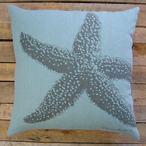 Starfish Pillow, Charcoal, 20
