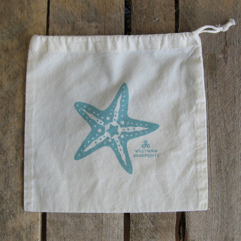 Small Organic Cotton Ditty Bag - Starfish