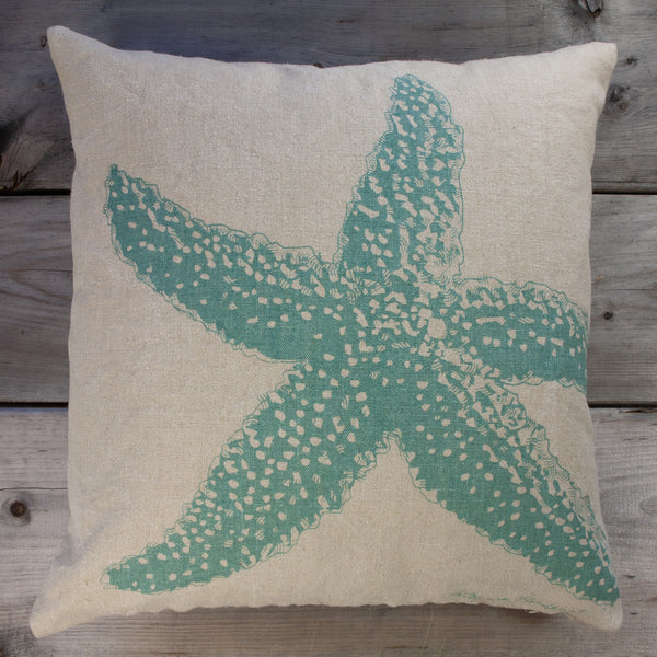 Starfish Pillow, Aqua Marine, 20
