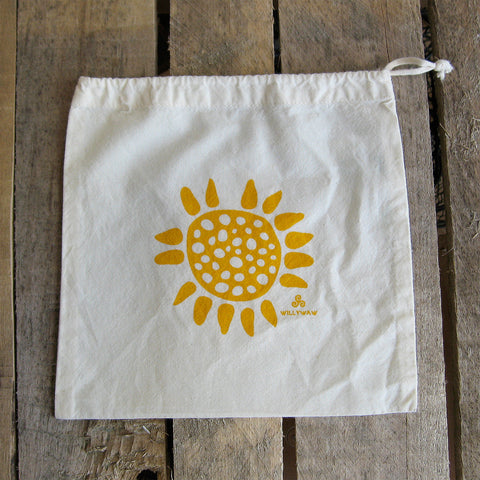Small Organic Cotton Ditty Bag - Flower