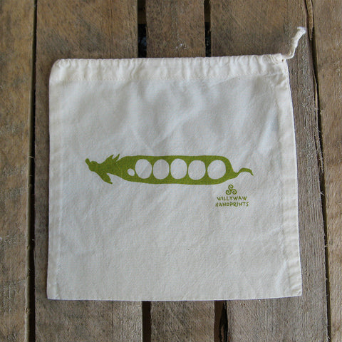 Small Organic Cotton Ditty Bag - Pea Pod