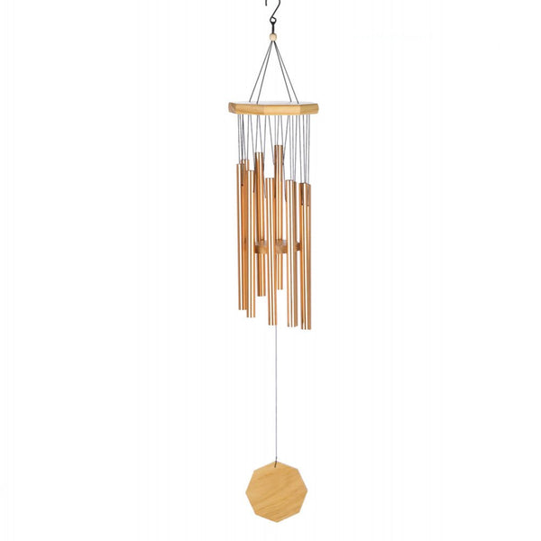 Copper-tone Metal And Wood Windchime