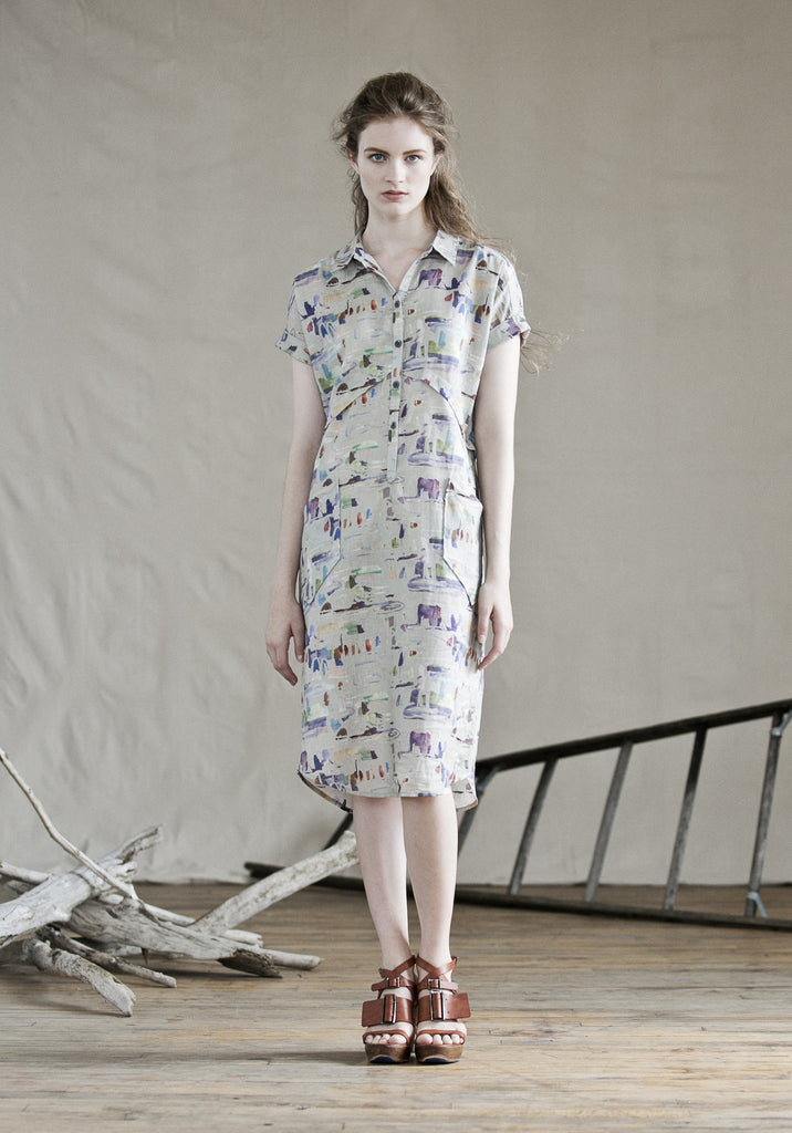 Feral Childe Collard Dress in Victory Garden