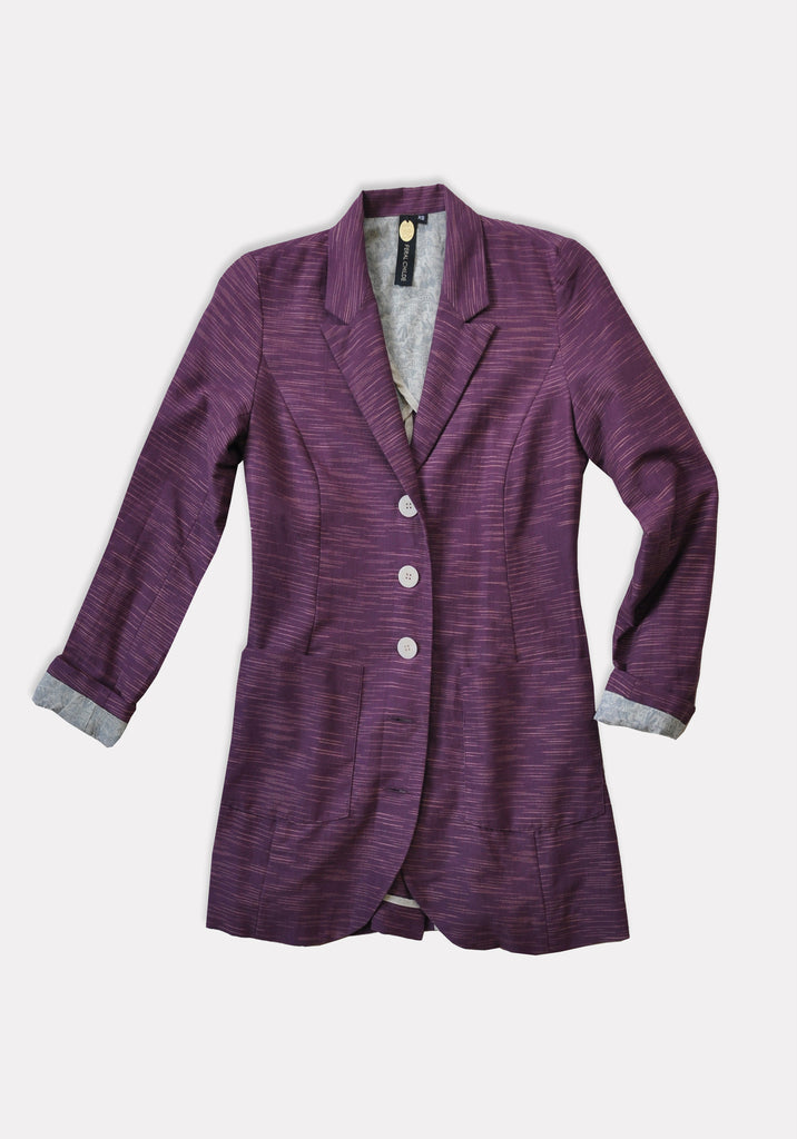 Day Coat in Khadi (Raisin)