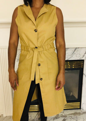 Ready sleeveless collared long vest dress