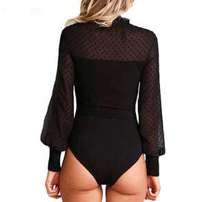 Heavenly collared sheer top bodysuit