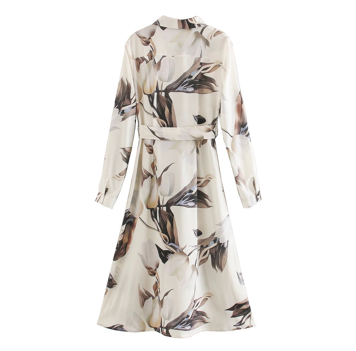 Jasmine floral dress with collar and tie