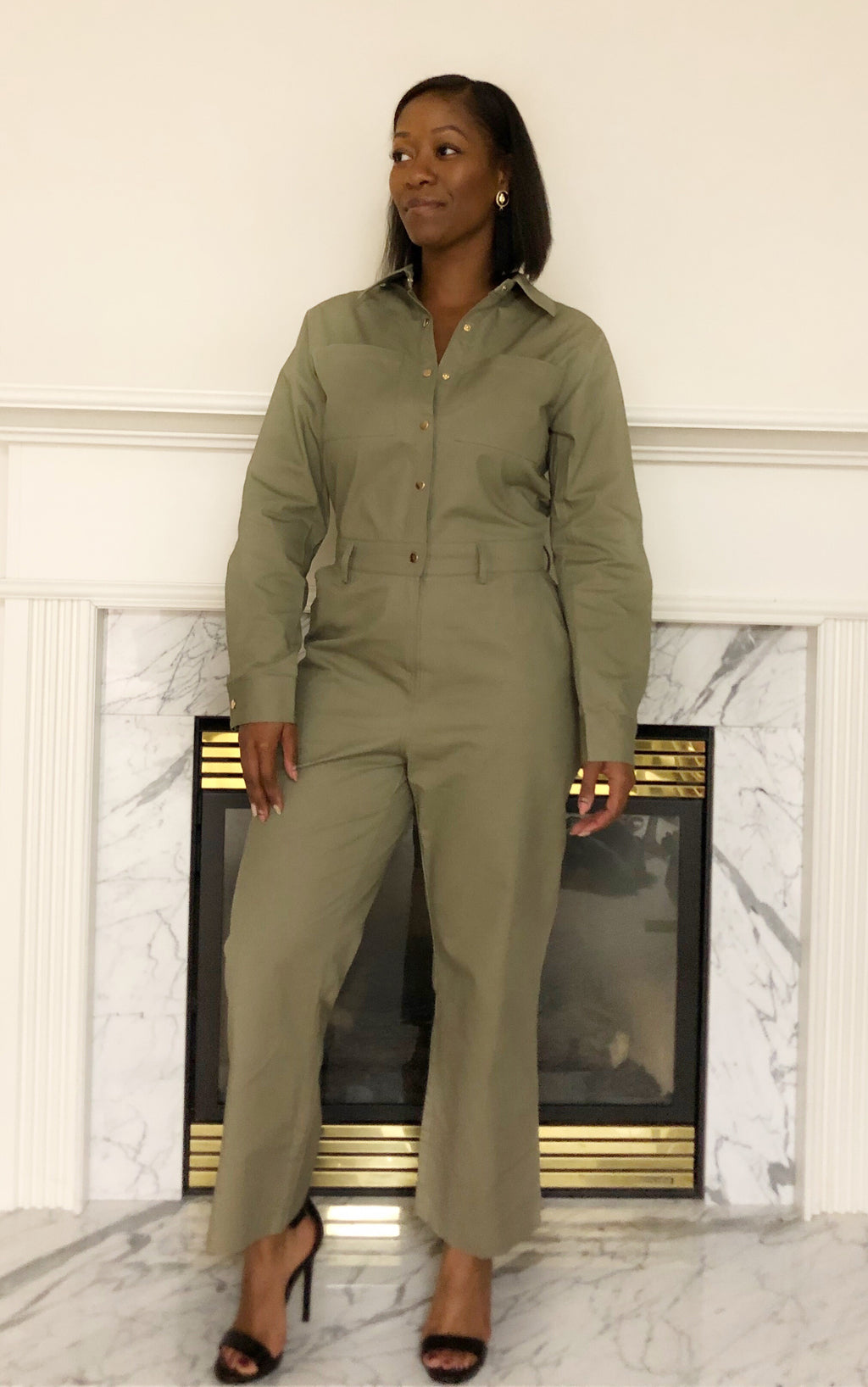 Push collared jumpsuit with pockets