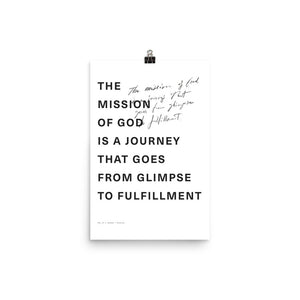 Mission is from Glimpse to Fulfillment Poster