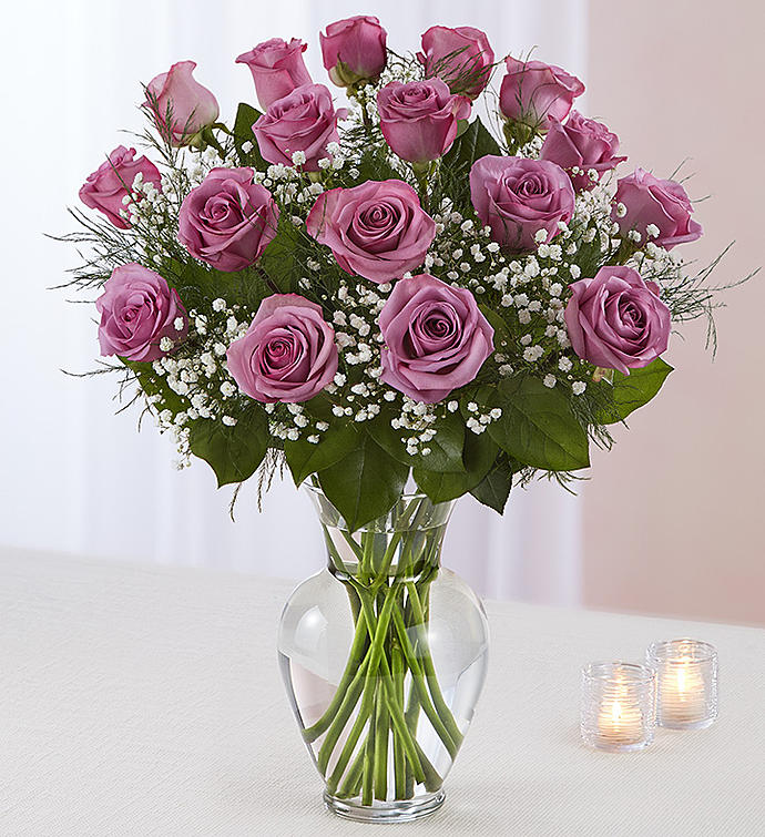 Bountiful Purple Rose Vase