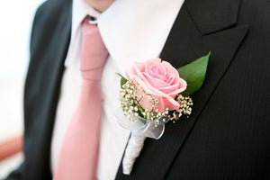 Men's Rose Boutonniere - Pink