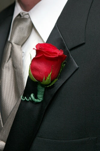 Men's Rose Boutonniere - Red