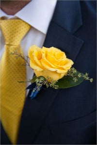 Men's Rose Boutonniere - Yellow