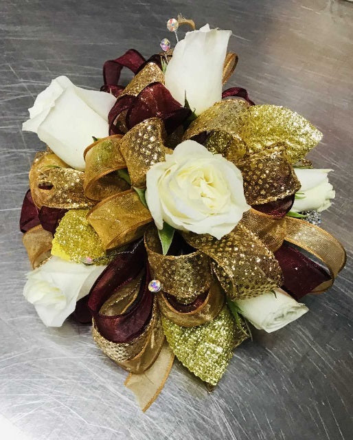 Large Wrist Corsage - White Rose w/ Gold & Maroon